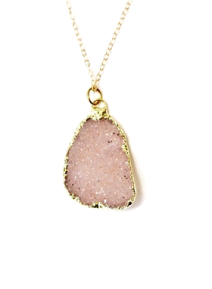 Rare pink druzy framed in gold by Mary Boitta