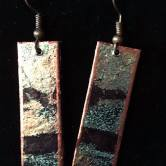 Scraps made into paper tile earrings